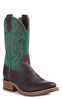 Double H ICE Collection Men's Mastodon Bison & Green Folklore Round Toe Western Boots