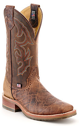 Double H Men's ICE Harshaw Tan and Caramel Wide Square Toe Western Boot