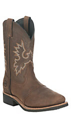 Double H Men's Tam Crazy Horse Saddle Vamp Square Steel Toe Western Boots