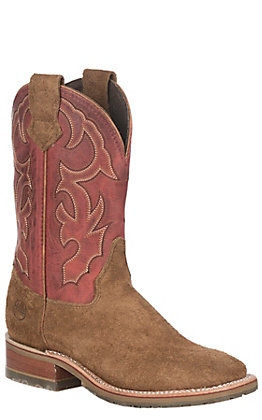 Double H ICE Collection Men's Chip Tan Roughout & Red Folklore Low Profile Wide Toe Western Boots