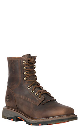 Double H Men's ICE Collection Chestnut Wid Square Composite Toe Lace Up Work Boot
