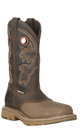 Double H Men's Brown Crazy Horse Waterproof Composite Square Toe Work Boots