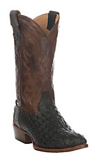 Double H Men's Chocolate Crocodile Print Round Toe Boots