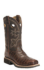 Double H Men's Chocolate Gator Print Steel Toe Square Toe Work Boots