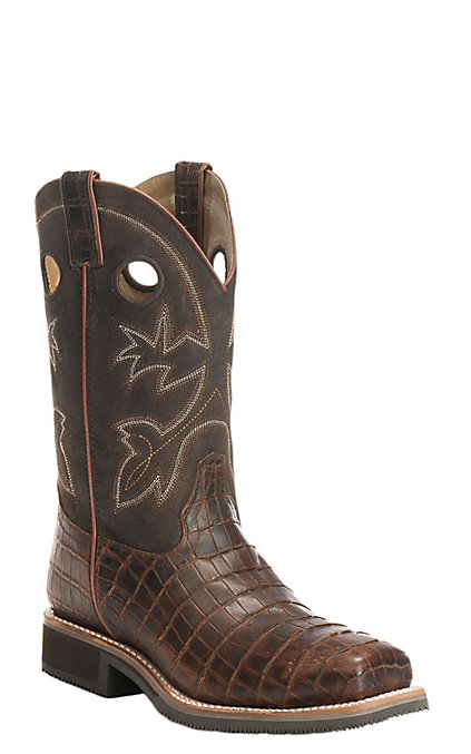 6f2d30bb001 Double H Men's Chocolate Gator Print 12 Inch Steel Square Toe Work Boots