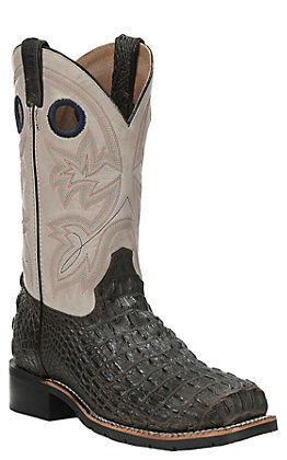Double H Men's Stephen Chocolate Caiman Print and Glacier Wide Square Steel Toe Work Boot