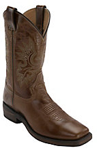 Double H Men's Vintage Tan Brown Wide Square Toe Western Boots