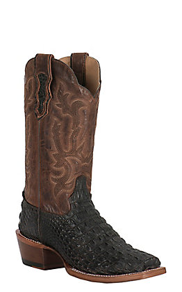 Double H Men's Chocolate Crocodile Print and Brown Miel Square Toe Exotic Print Boot