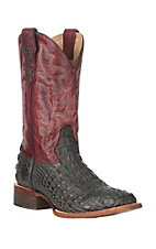 Double H Men's Dark Walnut Caiman Print w/ Crimson Wide Square Toe Boots