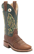 Double H Ladies Peanut w/Forrest Green Top Oak Ise Saddle Vamp Square Toe Western Boots