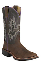 Double H Women's Crazy Horse Brown with Dark Brown Top Saddle Vamp Square Toe Western Boots