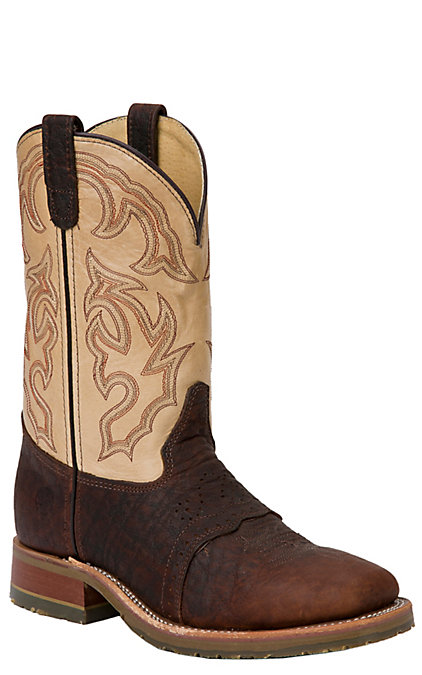f9bfbcb5d95 Double H Graham Men's Brown Bison and Taupe Wide Square Steel Toe Work Boots