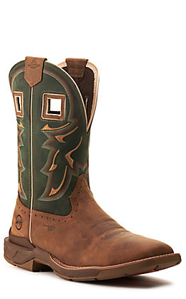 Double H Men's Tan and Evergreen Leather Square Composite Toe Western Work Boot
