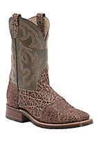 Double H ICE Collection Mens Chocolate Elephant w/ Chocolate Top Exotic Square Toe Boot