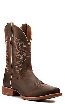 Double H Men's Orin Chocolate Crazy Horse Wide Square Toe Western Boot