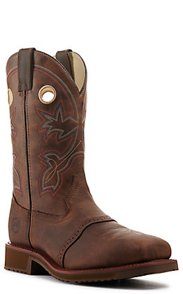 Double H Men's Rust Leather Saddle Vamp Composite Toe Work Boots