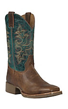 Double H Flex II Tan & Turquoise Steel Wide Square Toe Work Boot