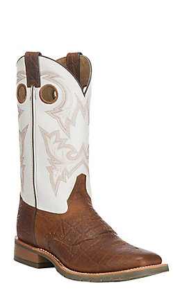 Double H Men's White with Cognac Brown Elephant Print Square Steel Toe Work Boots