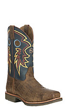 Double H Folklore Blue with Cayman Gator Print Square Steel Toe Work Boot