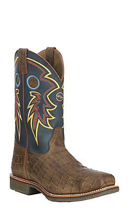 Double H Men's Tyler Caiman Print and Folklore Blue Wide Square Steel Toe Work Boot