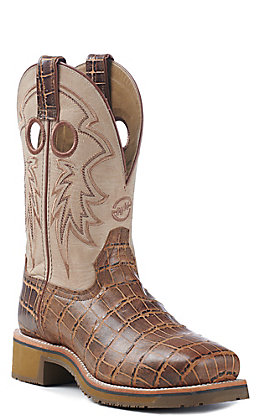 Double H Women's Cream With Antique Crocodile Print Steel Toe Work Boot