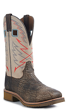 Double H Men's Rogan Desert Snake Bullhide and Distressed Cream Square Steel Toe Work Boot