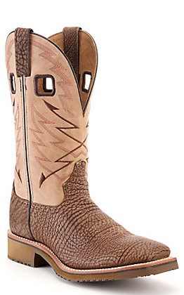 Double H Men's ICE Dodge City Brown Bullhide and Distressed Cream Wide Square Toe Western Boot