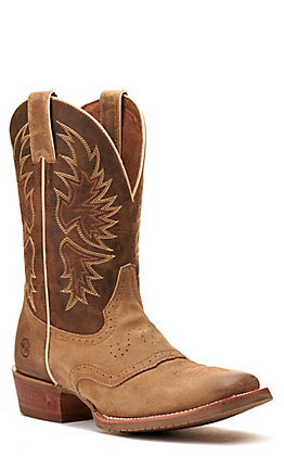 Double H Men's Tan and Brown Wide Square Toe Western Boot