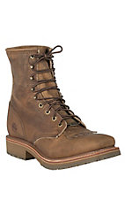 Double H ICE Collection Men's Folklore Brown Square Toe Lace-Up Work Boot