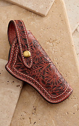 3D Brown Floral Embossed Revolver Gun Holster