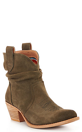 Dingo Women's Olive Suede Slouch Round Toe Booties