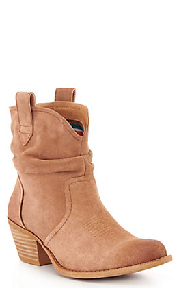 Dingo Women's Tan Suede Slouch Round Toe Booties