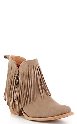 Dingo Women's Jerico Taupe Suede Fringed Round Toe Booties