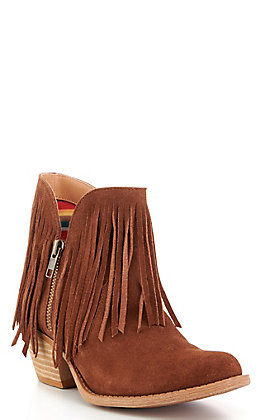 Dingo Women's Jerico Whiskey Suede Fringed Round Toe Booties
