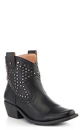 Dingo Women's Dusty Black Leather Studded Medium Snip Toe Booties