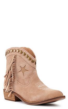 Dingo Women's Lonestar Natural Fringe Almond Toe Booties