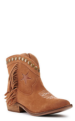 Dingo Women's Lonestar Whisky Fringe Almond Toe Booties