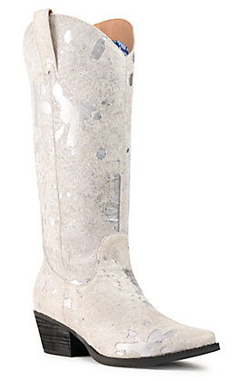 Dingo Women's Giddy Up Hair On Hide Leather Silver Snip Toe Western Boot