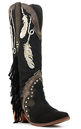 Dingo Women's Dream Catcher Black Leather Feather Embroidery Snip Toe Western Boots