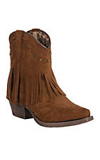 Dingo Women's Cassidy Rust Microfiber Fringe Leather Snip Toe Booties