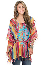 Crazy Train Women's Multicolor Stripe with Turquoise Aztec Diamond Poncho Fashion Top