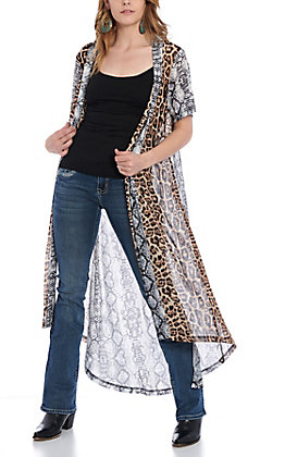 Crazy Train Women's Snake & Leopard Print Kimono