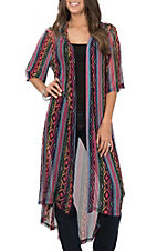 Crazy Train Women's Pink Serape Aztec Duster