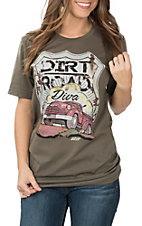 XOXO Art & Co. Women's Army Green Dirt Road Dive T-Shirt