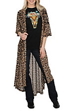 Crazy Train Women's Dixie Mesh Leopard Duster Kimono