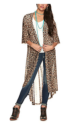 Crazy Train Women's Brown Leopard Print 3/4 Sleeve Duster Kimono