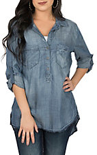 Dear John Women's Medium Wash Denim Emily Jacob Fashion Shirt