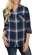 Dear John Women's Londyn Oxford Blue Plaid Western Fashion Shirt