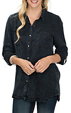 Dear John Women's Dark Wash Denim Misty Frankie Fashion Shirt
