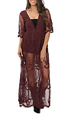 Wishlist Women's Burgundy Lace Romper